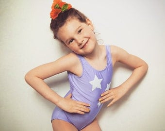 Lilac one piece swimsuit with white velvet stars