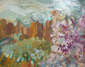 Abstract landscape oil painting signed
