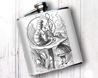 PREMIUM Hip FLask, Alice in Wonderland Flask - Whiskey Flask, 420 gift, Best Man Gift, Retirement Gift