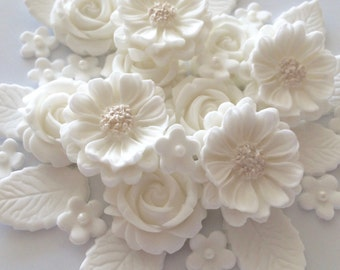 WHITE ROSE BOUQUET edible sugar paste flowers wedding cake decorations