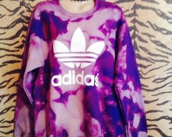 Unique acid wash tie dye adidas sweatshirt top urban swag celebrity dope festival style