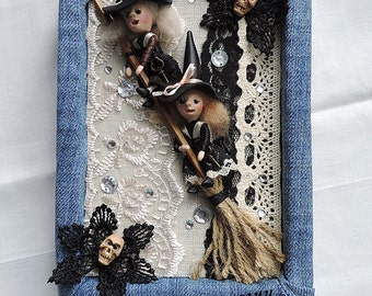 Handmade notebook with miniature girls witches, journal diary, sketchbook