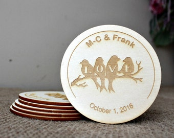 Personalised Coasters, Wedding Favours, Rustic Wedding, Valentines Day Gift, Round Wood Coasters, Laser Engraved Coasters, Wedding Coasters