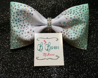Tailless Bling Cheer Bow, tuxedo hair bow, tail-less cheer bow, cheer bow cheap, sparkle bow, dye sublimated rhinestone cheer bow