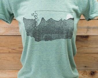 Washington state art print. Evergreen state on american apparel tri blend. tri lemon, free shipping in the USA. seattle, spokane