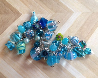 Blue Glass Lampwork Bracelet, Lampwork Bracelet, Beaded Bracelet, Beadwork Bracelet, Gift For Her