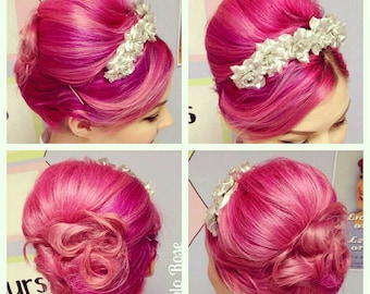 Silver Rose Hair Flower Comb.