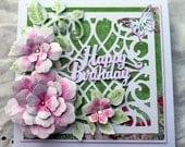 Happy Birthday Card, OOAK card, garden card