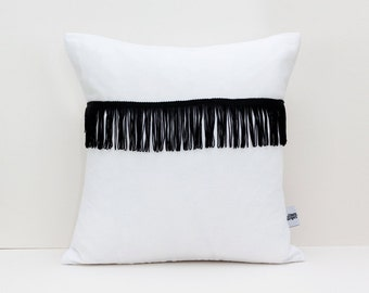 Fringe throw pillow - White linen throw pillow with Black fringe - Decorative Cushion Case - Linen Pillow Cover - Cushion with tassels