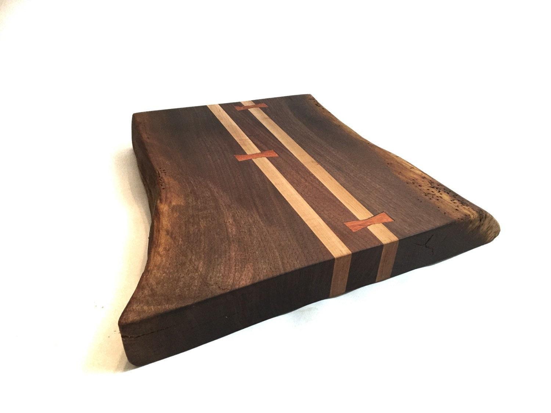 Wood Edged Board ~ Live edge black walnut cutting board