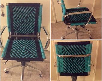 Up-cycled macrame office chair -turquoise OOAK