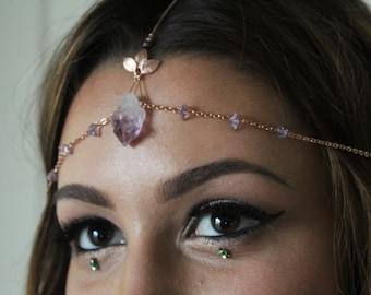 Rose gold head chain // amethyst boho headpiece, rose gold plated, crystal crown, hippie wedding, gemstone headpiece, bridal, wedding, prom
