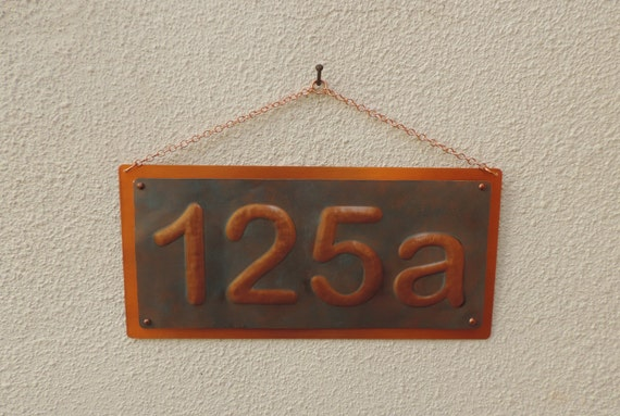 Rustic house number copper number copper number by for Front door number plaques