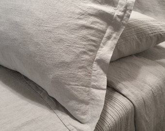 Linen Sham with Oxford border, 100% pure linen, washed,  soft, durable