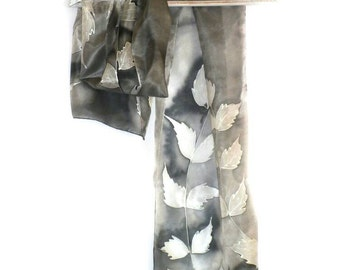Hand Painted Black White Silk Scarf with Branches, Long Silk Scarf, Silk Summer Headband, Luxury Silk Scarf, Women Silk Accessory