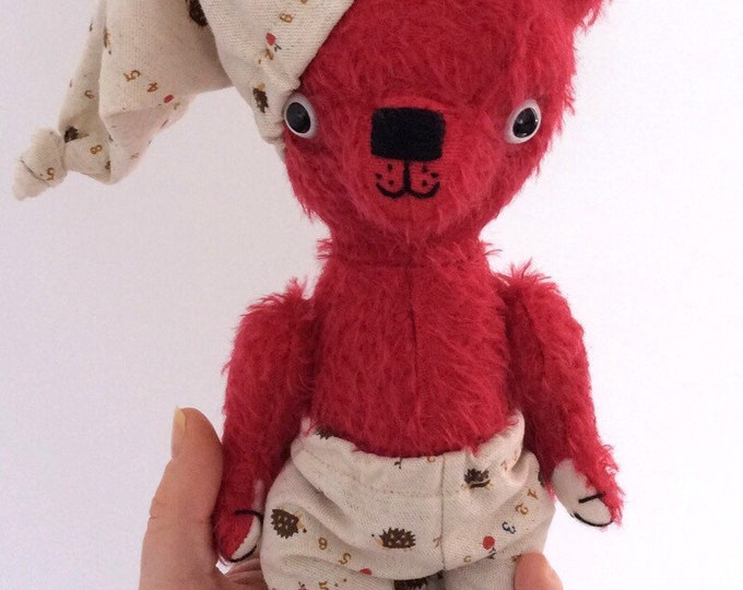 Red mohair teddy bear, plush bear, handmade stuffed animal, Waldorf toy, Ecofriendly toy, pretend play, toys, heirloom toys, kawaii toys