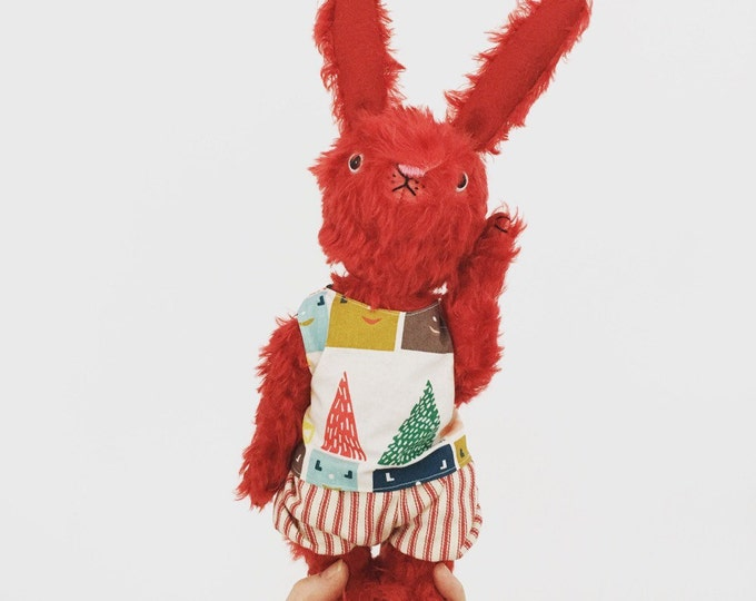 Mohair bunny rabbit plush, kawaii plush, handmade stuffed animal, Waldorf toy, Ecofriendly toy, pretend play, toys,heirloom toy, red bunny