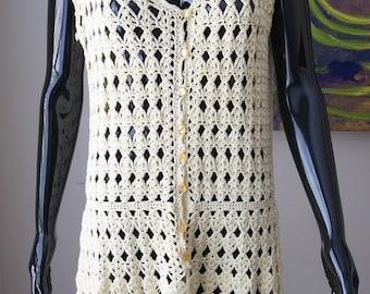 Yellow crochet dress