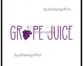 Grape Juice  Drink. Clip Art. Illustration. Digital Artwork. Print on T-shirts.  Use as decoration. Print a poster. Hand drawn.