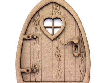 3D Fairy Door Kit. Natural MDF, Engraved Woodgrain Effect. Pixie, Elf, Fairy Decoration