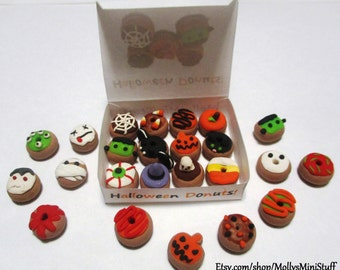AFTER HALLOWEEN SALE! Handmade polymer clay assortment of Halloween donuts dollhouse miniature food