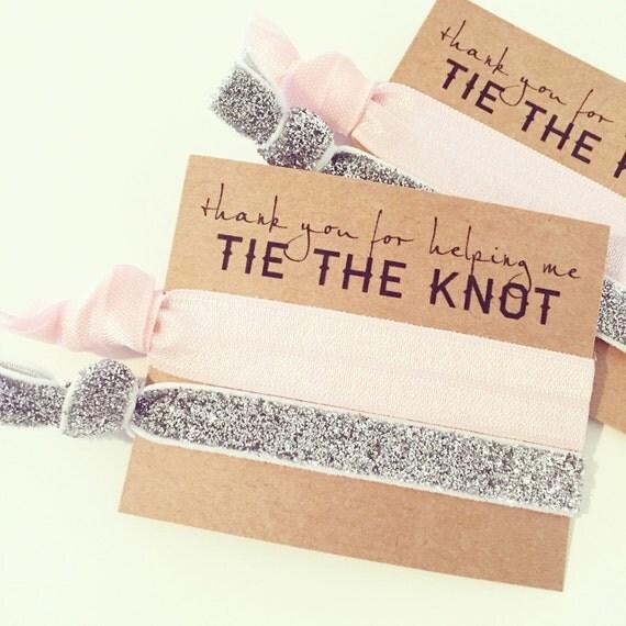 Light Pink + Silver Glitter Hair Tie Favor   Bridesmaid Gift, Wedding Bridal Shower Bachelorette Favor, Blush Pink + Silver Hair Tie Favors