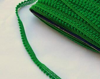 1 yard Green mini pom pom trim - Green trim - Green pom pom sewing notion
