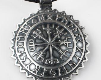 Viking Vegvisir Nautical Compass with Rune Calendar Sterling Silver Pendant - Key Ring - Viking Vegvisir Gift - Midieval Vegvisir Compass