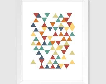 Triangle Art, Printable Art, Minimal Wall Decor, Colorful Art, Modern Print, Scandi Art, Geometric Art, Scandinavian Print, Digital Download
