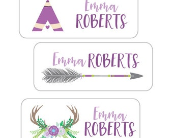 Personalized Waterproof Stickers, School Supply Labels, Tribal Arrow, Teepee Stickers, Daycare Labels, School Stickers, Girls Tribal Arrow