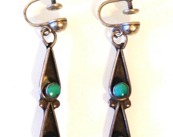 Vintage Sterling Silver and Turquoise Earrings Double Teardrop Southwest Native American Navajo