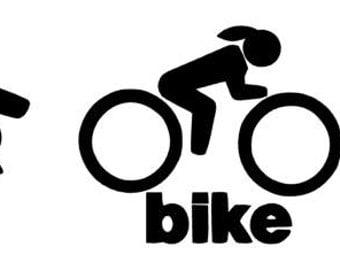 Female Swim Bike Run Triathlon Athlete - Car Decal or Computer Decal