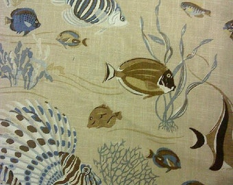 Del Mar Blue Brown, By Duralle, Fabric By The Yard