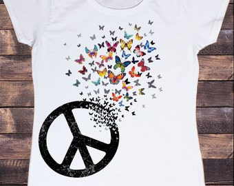 Women's White T-Shirt  Colourful Butterfly Design With Peace CND Icon Print TS227