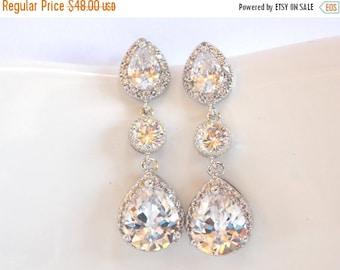 SALE Wedding Jewelry,Silver, Cubic Zirconia, Bridal Jewelry,Bridal Earrings,Bride Earrings,Bridesmaid Earrings, Dangle Post, Bridesmaid Gift