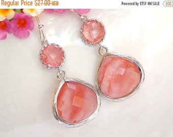 SALE Wedding Jewelry , Coral Earrings, Silver, Peach, Grapefruit, Bridesmaid Earrings, Bridesmaid Gifts, Bridesmaid Jewelry, Dangle, Gift, D