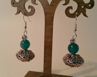 Lovely silver and blue drop earrings.