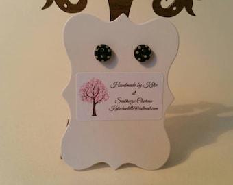 Black button stud earrings