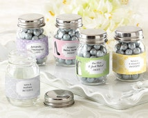 Mini Glass Mason Jar Wedding Set of 12 Available Personalized Monogram Mints Candy Containers Bottles Goodies First Birthday Boy Baby Shower