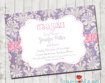 Purple Damask with Pink Baby Shower Invite