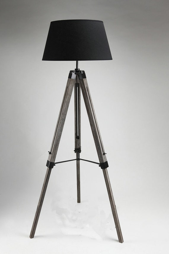 Items similar to tripod floor lamp with linen shades on etsy for Tripod floor lamp with tartan shade
