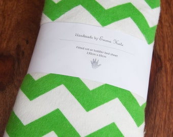Handmade Green Chevron Fitted Flannel Cot Sheet