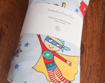 Handmade Superhero Fitted Flannel Cot Sheet