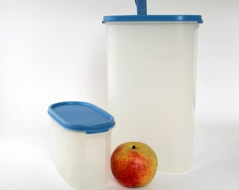Tupperware Modular Mates, Vintage Blue Seal Tupperware Cereal Container and Snack Canister
