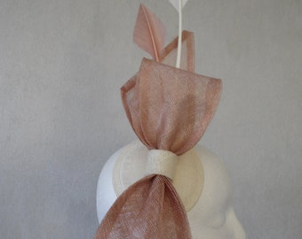 Ivory and Latte Bow Fascinator with Arrowhead Feathers