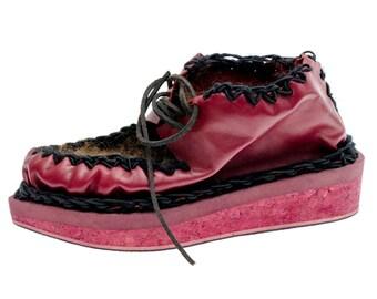 Italian Handmade Women's Leather Brogue Shoe Size 35