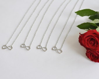 Friendship jewelry: 4 x infinity necklace in silver