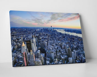 New York Manhattan Top View Skyline Gallery Wrapped Canvas Print