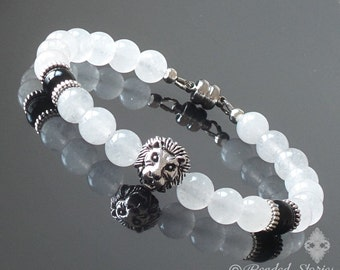 Wedding jewelry Lion bracelet Mens bracelet Boho Chic jewelry Surfer bracelet Healing crystal bracelet White Jade & Black Onyx Gift for him