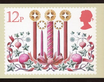 Candles Christmas PHQ Stamp Series Postcard C384